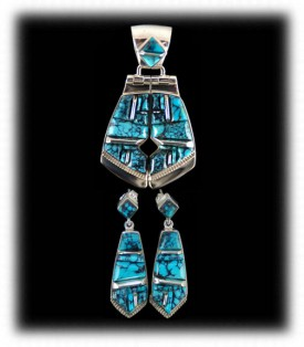 American Indian Necklace Set - Inlaid Turquoise