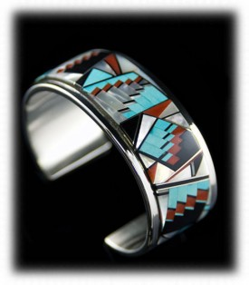 Native American Turquoise Jewelry - Zuni Mens Inlay Bracelet