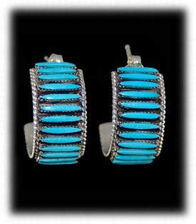 Zuni Indian Silver Jewelry - Needlepoint Hoop Earrings