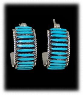 Zuni Indian Silver Jewelry - Needlepoint Hoop Earrings