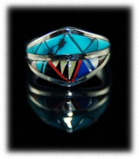 Zuni Indian Inlay Sterling Silver Ring