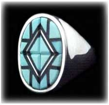 Zuni Inlay Turquoise Jewelry Ring