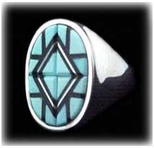 Zuni Inlay Turquoise Jewelry Ring