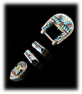 Native American Indian Silver Jewelry - Inlaid Silver Buckle Set