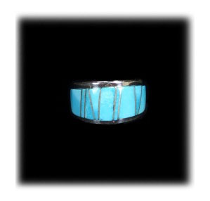 Zuni Inlay Band Ring with Sleeping Beauty Turquoise