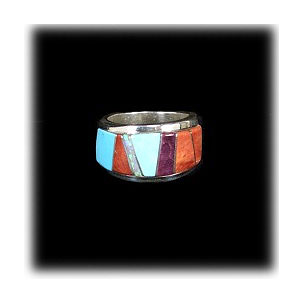 Zuni Multi-Color Inlay Ring