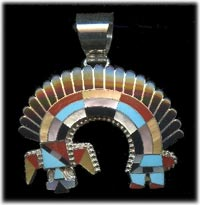 Zuni Inlay Pendant of Yei