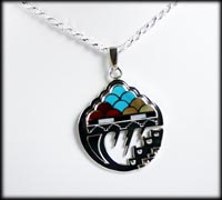 Zuni Inlay Pendant Storm pattern