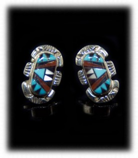 Zuni Inlaid Stud Earrings