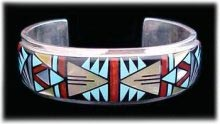 Zuni Inlay bracelet hummingbird