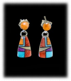 Multi-Colored Zuni Inlayed Earrings