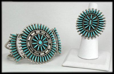 Zuni Needle Point Bracelet and Needle Point Ring