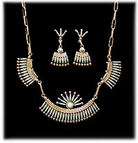 Zuni Needlepoint Necklace and Needle Point Earrings