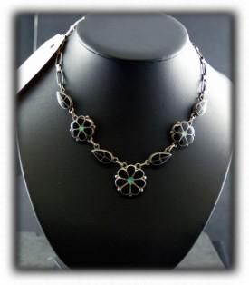 Zuni Inlay Turquoise Pendant Necklace - Zuni Silver Jewelry