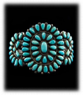 Zuni Petit Point Turquoise Bracelet - Native American Turquoise Jewelry