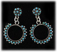 Zuni made Petti Point Earrings or Petit Point Earrings