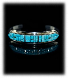 Sky blue Sleeping Beauty Turquoise Cornrow Inlay Bracelet