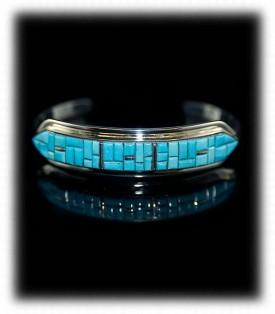Sky blue Sleeping Beauty Turquoise Cornrow Inlay Bracelet