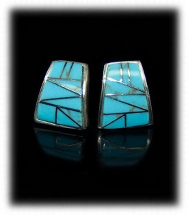 Sterling Silver Turquoise Inlaid Earrings - Zuni Handcrafted