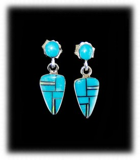 Zuni Dangle Turquoise Inlay Earrings