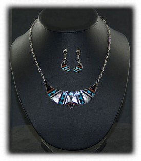 Zuni Inlay Turquoise Necklace