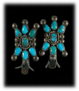 Antique Western Silver - Antique Turquoise Earrings