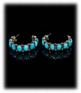 Sleeping Beauty Turquoise Hoop Earrings - Zuni Handcrafted