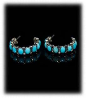 Sleeping Beauty Turquoise Hoop Earrings - Zuni Handcrafted