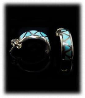 Zuni Turquoise Inlay Hoop Earrings