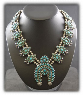Zuni Turquoise Squash Blossom Necklace