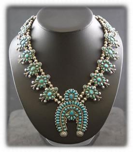 Zuni Turquoise Squash Blossom Necklace