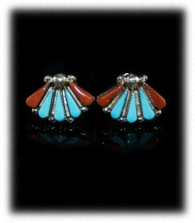 Zuni Coral and Turquoise Stud Earrings
