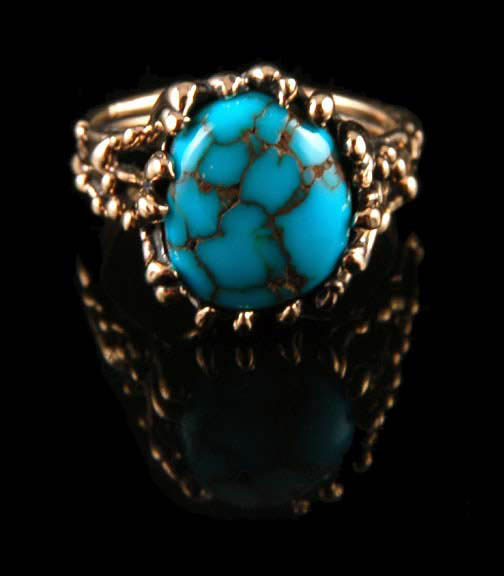 14k yellow gold ring with natural Apache Gold Turquoise from Nevada, USA